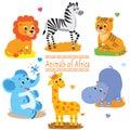 Cartoon safari animals pack. Cute vector set.