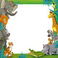 Cartoon safari jungle frame border template illustration for the children happy and colorful Stock Photos