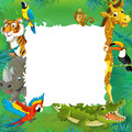 Cartoon safari jungle frame colorful illustration for the children Stock Photography