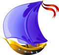 Cartoon sailing boat Royalty Free Stock Photos
