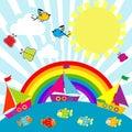 Cartoon sailing boats and rainbow Stock Photos