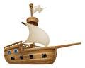 Cartoon Sailing Ship Royalty Free Stock Photo