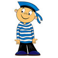 Cartoon sailor kid in striped shirt. image Royalty Free Stock Image