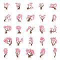 25 Cartoon sakura trees set