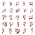 25 Cartoon sakura trees set