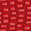 Cartoon sale tags seamless background tile with style sales displaying percentage off Stock Photo