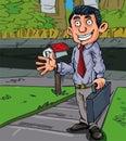 Cartoon salesman at the door Royalty Free Stock Photo