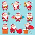 Cartoon Santa character. Christmas cute grandfather Claus characters for Xmas holidays greeting card vector set
