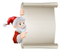 Cartoon santa christmas scroll sign of cute pointing sideways at a poster sign Stock Image