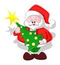 Cartoon Santa with Christmas Tree Royalty Free Stock Photo