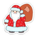 Cartoon santa claus with a bag of gifts vector illustration Stock Images