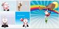 Cartoon santa claus characters comic christmas and reindeer sleigh vector illustration Royalty Free Stock Image