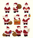 Cartoon santa claus Christmas icon set Royalty Free Stock Images