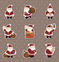 Cartoon santa claus Christmas stickers Stock Images