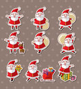Cartoon santa claus Christmas stickers Royalty Free Stock Photo
