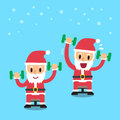 Cartoon santa claus doing alternate seated dumbbell press exercise Royalty Free Stock Photo