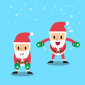 Cartoon santa claus doing dumbbell bent over lateral raise exercise Royalty Free Stock Photo