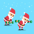 Cartoon santa claus doing dumbbell bent over lateral raise exercise step training Royalty Free Stock Photo