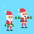 Cartoon santa claus doing dumbbell lateral raise exercise step training Royalty Free Stock Photo