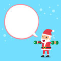 Cartoon santa claus doing dumbbell lateral raise exercise training with white speech bubble Royalty Free Stock Photo