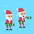 Cartoon santa claus doing front dumbbell raise exercise step training