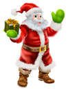 Cartoon santa claus illustration of waving and holding a christmas present Royalty Free Stock Photography