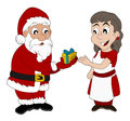 Cartoon of santa claus and mrs claus christmas illustration giving a present to Stock Photography