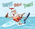 Cartoon Santa Claus  rides on the sea surface on  water skis Royalty Free Stock Photo
