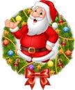 Cartoon santa claus waving hand with Christmas wreath Royalty Free Stock Photo