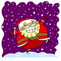 Cartoon santa clause claus dancing in the snow Stock Image