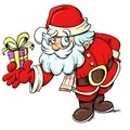Cartoon santa clause giving a present cartoonish white background Royalty Free Stock Photos