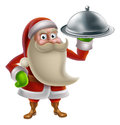 Cartoon santa cooking christmas dinner claus food with holding a silver platter Stock Image
