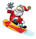 Cartoon Santa doing a jump on a snowboard Royalty Free Stock Images