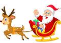 Cartoon santa drives his sleigh illustration of Royalty Free Stock Photos