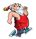 Cartoon Santa running for exercise. Royalty Free Stock Photo