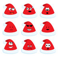 Cartoon santa's hats set with different emotions Stock Photography