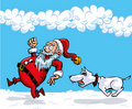 Cartoon Santa with a white beard Royalty Free Stock Photos