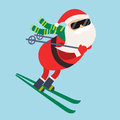 Cartoon Santa winter sport illustration