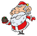 Cartoon santa with xmas pudding isolated on white Stock Photography