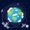 Cartoon Satellites Orbiting the Earth Royalty Free Stock Photo