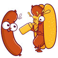 Cartoon sausage and hot dog splashing itself with mustard.