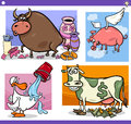 Cartoon sayings or proverbs concepts set illustration of humorous and metaphors with funny animal characters Royalty Free Stock Image