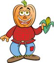 Cartoon scarecrow with a pumpkin for a head holding an ear of corn. Royalty Free Stock Photo
