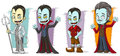 Cartoon scary pale vampire family characters vector set