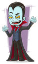 Cartoon scary vampire with canines a vector illustration of Royalty Free Stock Images