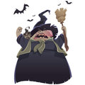 Cartoon scary witch with broom and owl yelling Stock Photography