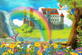 Cartoon scene with a castle and a tree house in the forest - stage for different usage - for fairy tales - book or game