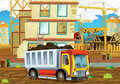 Cartoon scene of a construction site with heavy truck loader - illustration for children