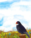 Cartoon scene of a cuckoo bird sitting and watching - pastures and mountains in the background Royalty Free Stock Photo