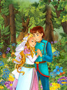Cartoon scene with cute princes in the forest - beautiful manga girl Royalty Free Stock Photo